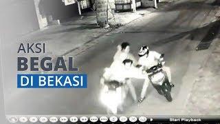 Viral Begal di Bintara Jaya, Bekasi Terekam CCTV, Korban Ditodong Celurit lalu Motor Dibawa Kabur