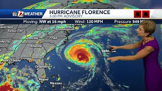 Hurricane Florence now Category 3, grows larger