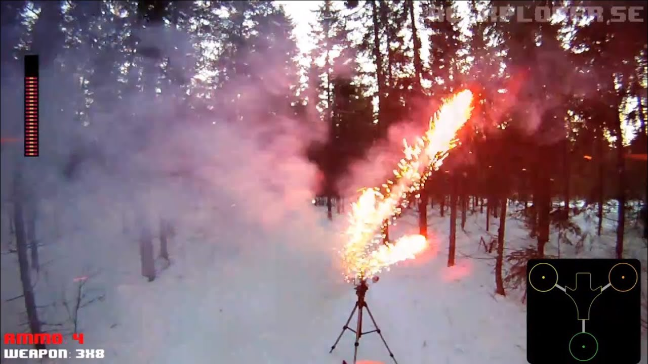 Watch An RC Tricopter Blow Up Balloons With Fireworks