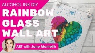 Rainbow Alcohol Ink Glass Wall Art