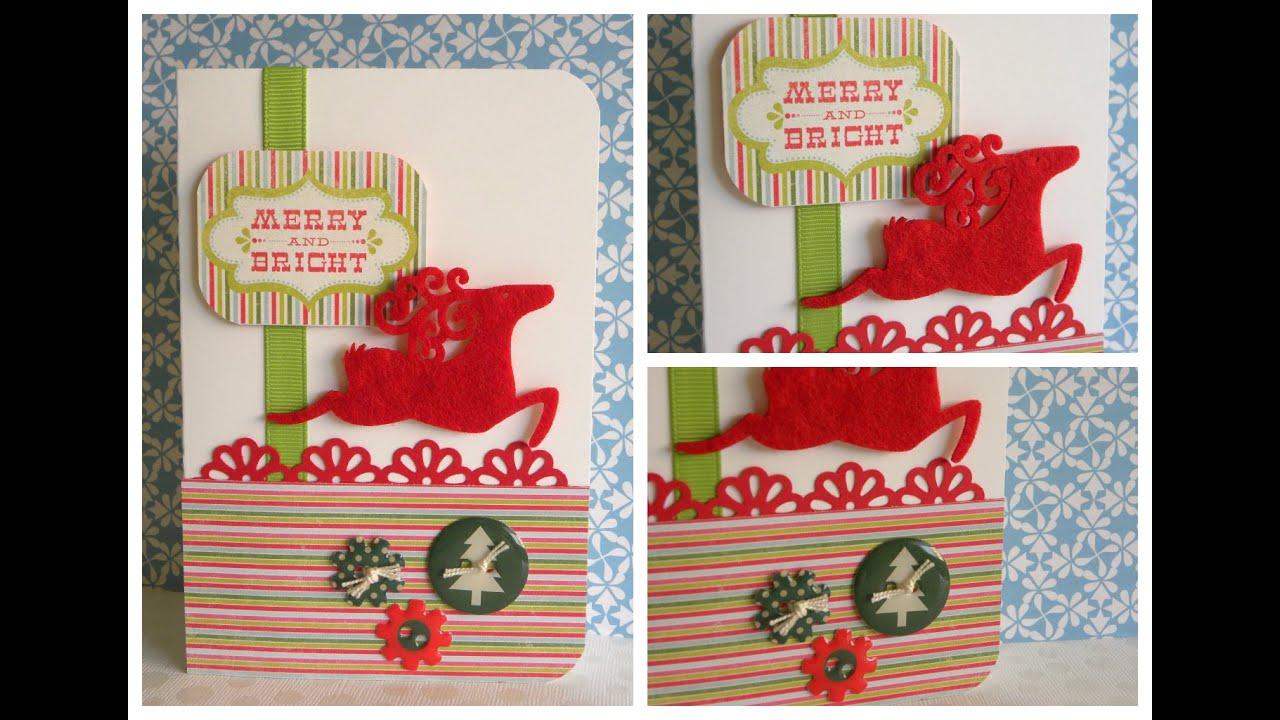 Chritsmas card - Felt reindeer