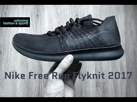 Nike Free Run Flyknit 2017 'black/anthracite' | UNBOXING & ON FEET | running shoes | 2018 | 4K