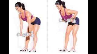 Упражнения с гантелями для девушек, упражнения для женщин, упражнения с гантелями, выпады.
