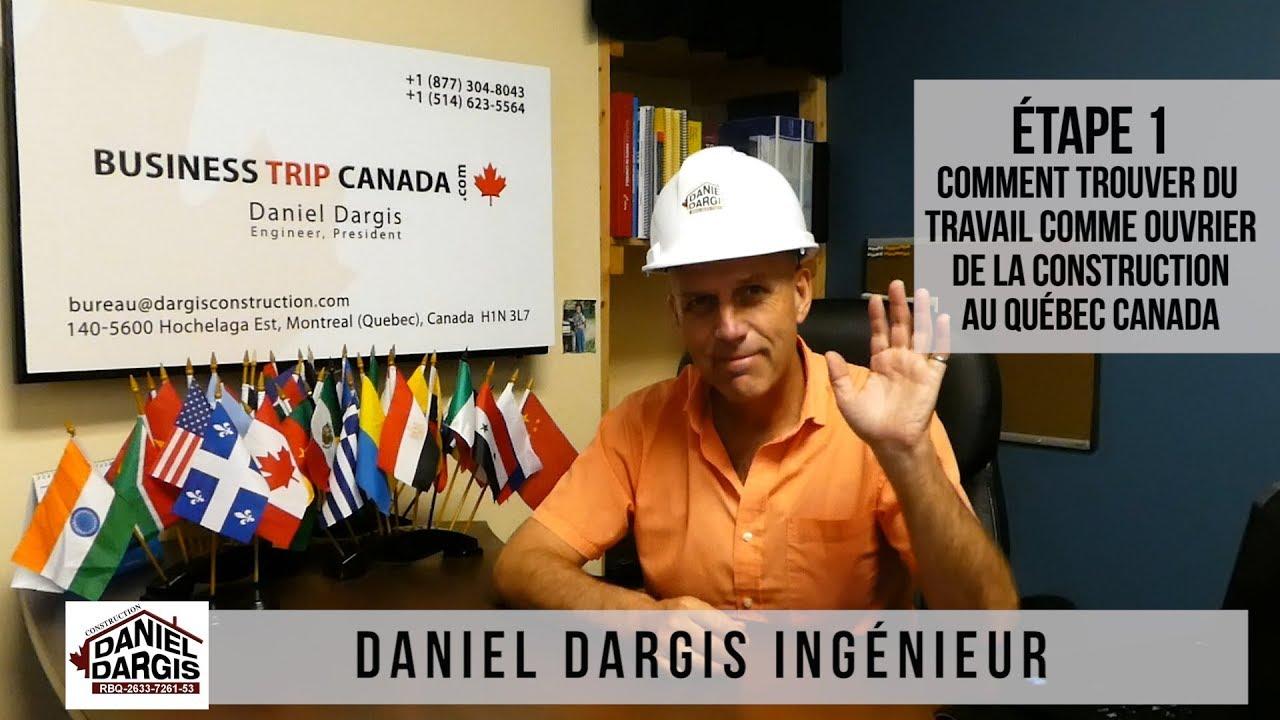 1- Comment trouver un emploi ouvrier en construction Québec Canada