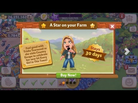 FarmVille 2:CE🌟Purchasing TRISHA YEARWOOD AVATAR🎵Every Girl in this Town🎵