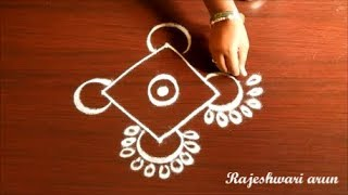 Simple Kolam Design With Dots Easy Rangoli Design With Dots Small Muggulu with dots