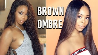 Dying Lace Wig:  Black To OMBRE Chocolate Brown Hair (Installing & Styling) | Wiggins Hair