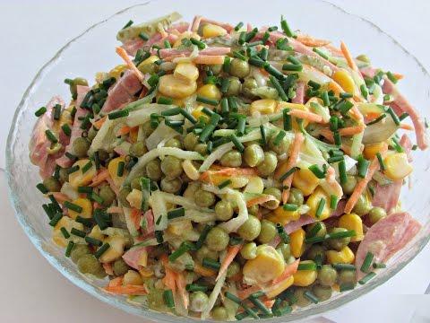 Хрустящий салатик (который не надо варить)/Салат с колбасой,огурцом,кукурузой и горошком