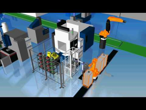 Simulation of a fully automated grinding cell with automated input and output voltage of components to and from fixtures, as well as automated feed and supply of components. Video: SINTEF Raufoss Manufacturing