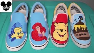 DIY Disney Inspired Painted Shoes | How To Paint Shoes | Winnie The Pooh | The Little Mermaid