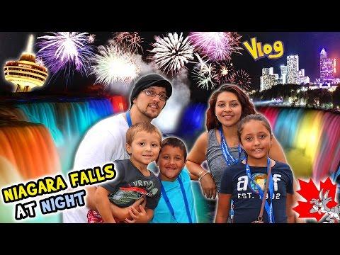 NIAGARA FALLS AT NIGHT!  Family Trip CANADA pt. 1 – Waterfall Lights (FUNnel Vision Vlog)