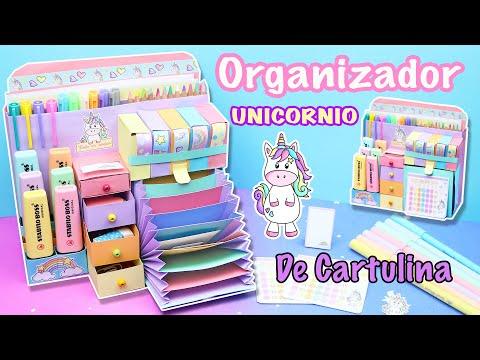 ORGANIZADOR Unicornio de ESCRITORIO en CARTULINA - Organizador de Papel | Manualidades aPasos
