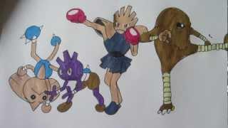 Hitmonlee  - (Pokémon) - How to draw Pokemon: No.236 Tyrouge, No106 Hitmonlee, No.107 Hitmonchan, No. 237 Hitmontop