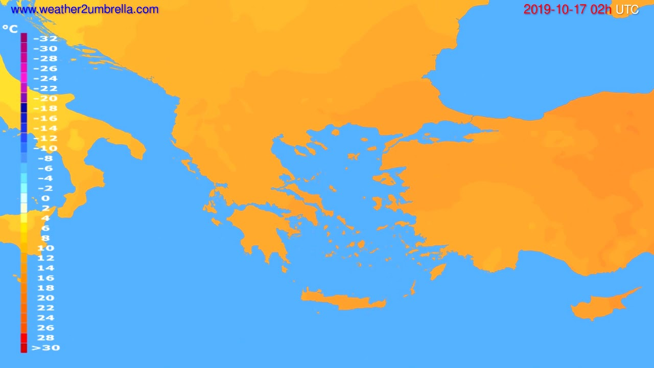 Temperature forecast Greece // modelrun: 00h UTC 2019-10-14