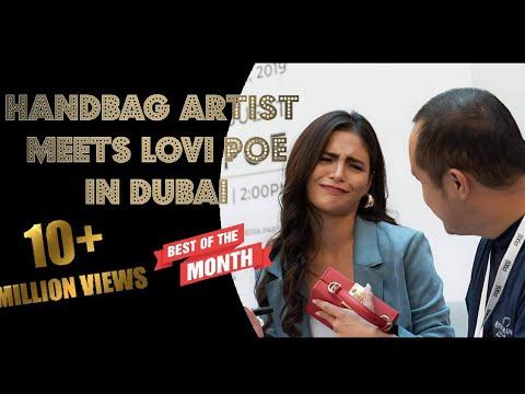 Lovi Poe kasama ang ofw na nagpipinta ng bag sa Dubai. #lovipoe #bag #handpaintedbag #bench