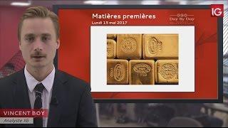 GOLD - USD - Bourse - Cours de l'or au comptant, stabilisation au dessus de 1216,78$ - IG 15.05.2017