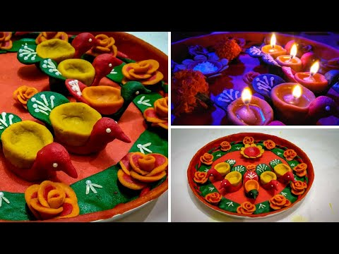 Decoration of Aarati Thali with Dough | Pooja Thali Decoration
