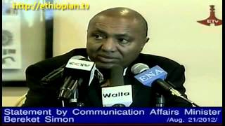 Ethiopia   Bereket Simon Press Conference About Ethiopia Mourning The Death Of Meles