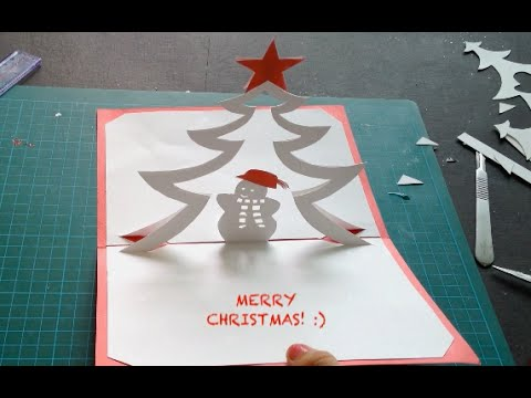 Snowman and Christmas Tree Pop Up Card, Kirigami Tutorial