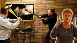 DESTROYING MY GRANDMOMS TV PRANK!