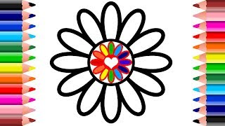 How To Draw Flower | Rainbow Flower Coloring Pages For Kids | Setoys