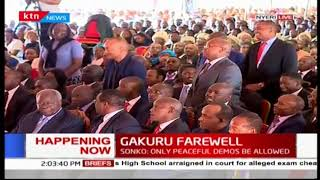 DP William Ruto introduces CSs in attendance at the late Gakuru's farewell