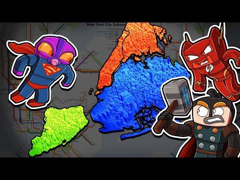 SUPERHEROES - New York City Map WARS! (Minecraft)
