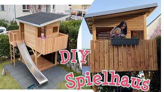 DIY Kinderspielhaus selber bauen Stelzenhaus mit Sandkasten Maltafel Schaukel #felderchallenge