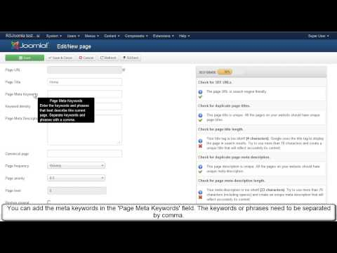 Ep. 13  - Optimize meta keywords and meta description for each Joomla! page with RSSeo!