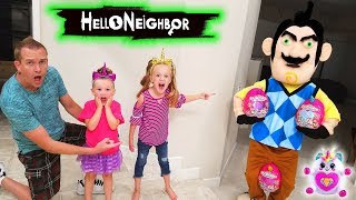 Hello Neighbor in Real Life Rainbocorns Toy Scavenger Hunt! Rainbow Unicorns Found!!