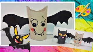 DIY Хэллоуин поделки из бобин  Летучая мышь