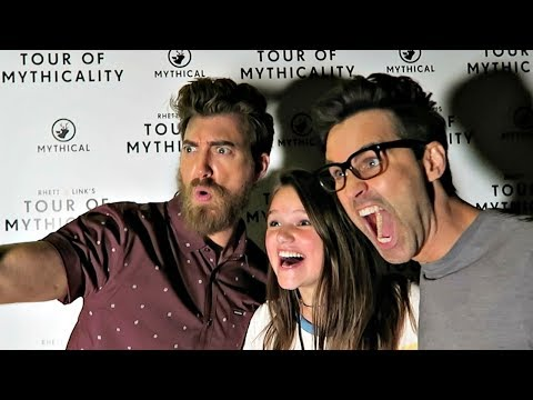 HUGE SURPRISE!!! BACKSTAGE WITH RHETT AND LINK on THE TOUR OF MYTHICALITY!