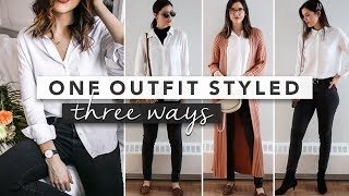 1 Outfit Styled 3 Different Ways - Capsule Wardrobe | by Erin Elizabeth