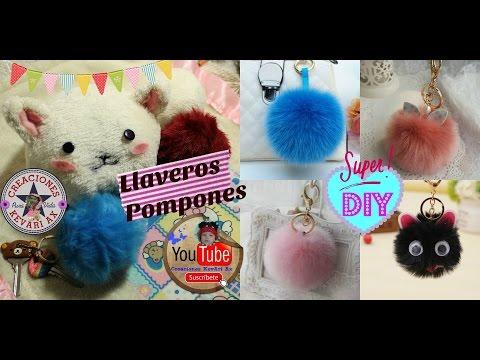 Pompones Llaveros de peluche/ DIY Fur Keychain/ Facil POMPÓN de PELO para tus Bolsos