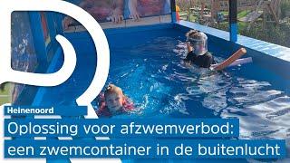 Het gouden ei tegen verbod op afzwemmen? Badmeester plaatst zwemcontainer op parkeerplaats