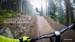 Linking up some of the best trails toward the bottom of Whistler Bike Park after a sick descent on Top of the World.