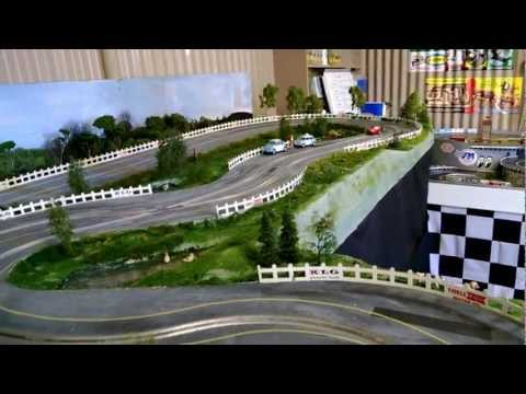 1/32 Wooden Routed Slot Car Track – 1960's theme – Scalextric Lotus C63 Test Drive