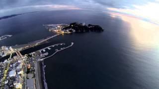 日没後の片瀬江ノ島遊覧飛行「きまぐれラジコン空撮」
