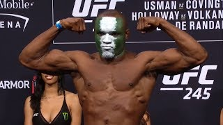 Watch the UFC 245: Usman vs Covington weigh-in.  Subscribe to get all the latest UFC content: http://bit.ly/2uJRzRR  Experience UFC live with UFC FIGHT PASS, the digital subscription service of the UFC. Visit https://ufcfightpass.com/  To order UFC Pay-Per-Views, visit http://www.ufc.tv/events   Connect with UFC online and on Social: Website: http://www.ufc.com Twitter: http://www.twitter.com/ufc Facebook: http://www.facebook.com/ufc Instagram: http://www.instagram.com/ufc Snapchat: UFC Periscope: http://Periscope.tv/ufc  Connect with UFC FIGHT PASS on Social: Twitter: http://www.twitter.com/ufcfightpass Facebook: http://www.facebook.com/ufcfightpass Instagram: http://www.instagram.com/ufcfightpass