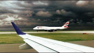Stunning Takeoff Before Intense Thunderstorm at JFK - JetBlue ERJ-190 Takeoff