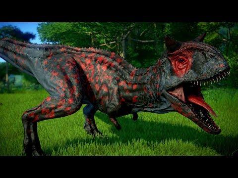 Blood Carnotaurus Vs Indominus Rex, Stegoceratops, Spinosaurus - Jurassic World Evolution