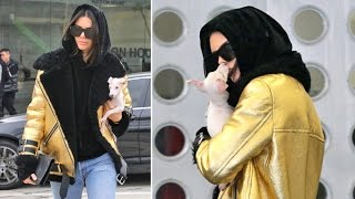Kendall Jenner Cant Stop Kissing Her Adorable New Pup While Shopping With Hailey Baldwin
