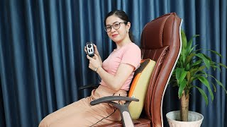 Video Máy massage lưng hồng ngoại xoay day ấn 8 bi Hàn Quốc Puli PL-803A-W - hỗ trợ điều trị đau nhức lưng