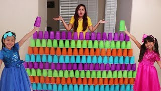 Emma & Jannie Pretend Play Fun Stacking Giant Cup Wall Challenge Kids Toys
