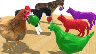 Wrong Mother Farm Animals and Baby Animals with Colorful Fruit - Learn Colors and Song Kids Children