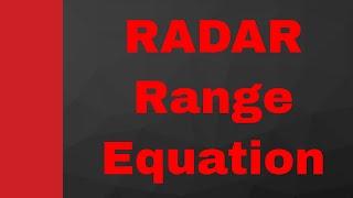 RADAR Range equation By Engineering Funda (RADAR Engineering, Microwave Engineering, RADAR)