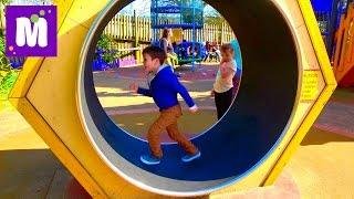 ВЛОГ/ Смешной слон и Тарзанка / Надувная Супер горка в парке для детей