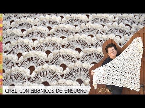 Chal con abanicos de ensueño tejido a crochet - Tejiendo Perú