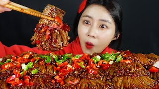 MUKBANG ASMR   Spicy! Golden Enoki Mushroom🍄With Mara Fire Sauce Eat Eatingshow Realsound 아라 Ara