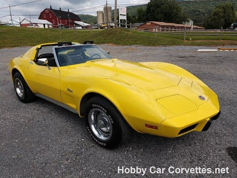 1975 Bright Yellow Corvette Stingray Black Int Video